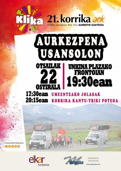 Cartel de presentación de la Korrika 2019 en Usansolo