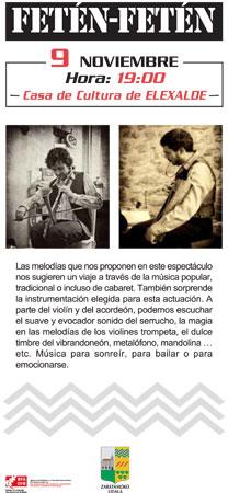 Cartel concierto Fetén Fetén en la Casa de la Cultura de Elexalde, Zaratamo.