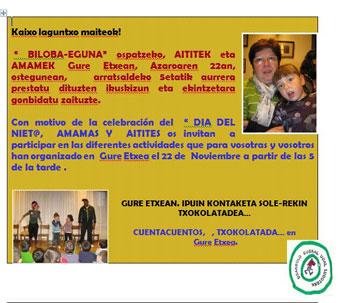 """Cartel Día del niet@"""" con la ludoteca de Usansolo"""
